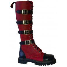 boty kožené KMM 20 dírkové černé/crazy červené se 4 přezkama