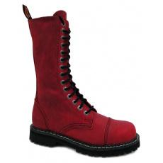 boty kožené KMM 14 dírkové crazy červené