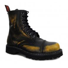 boty kožené KMM 8 dírkové černé/žlutá