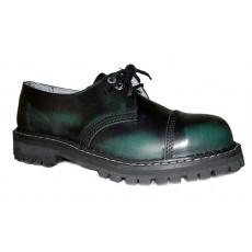 boty kožené KMM 3 dírkové černé/zelená
