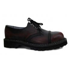 boty kožené KMM 3 dírkové černé/bordo