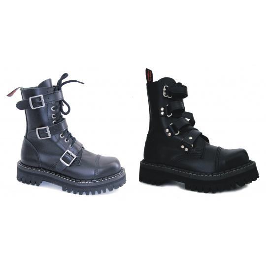 boty kožené KMM 10 dírkové s přezkami