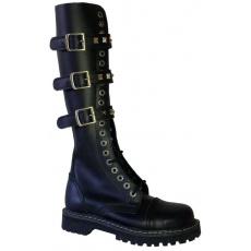 boty kožené KMM 20 dírkové černé se 3 přezkama