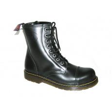 boty kožené KMM 8 dírkové černé Liquid