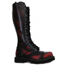 boty kožené KMM 20 dírkové černé/červená