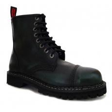 boty kožené KMM 8 dírkové černé/zelená