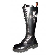 boty kožené KMM 20 dírkové černé s křížem