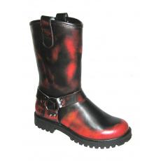 boty kožené KMM moto černé/červená