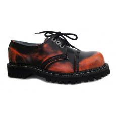 boty kožené KMM 3 dírkové černé/oranžová