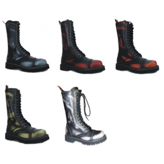 boty kožené KMM 14 dírkové stíraná barva