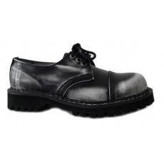 boty kožené KMM 3 dírkové černé/bílá