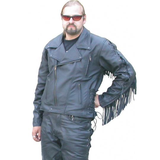 bunda F-E2 kožená s třásněmi