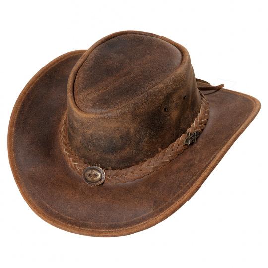 kožený westernový klobouk CRAZY HORSE