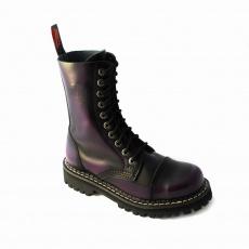 boty kožené KMM 10 dírkové černé/fialová