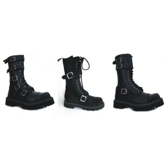 boty kožené KMM 14 dírkové s přezkami