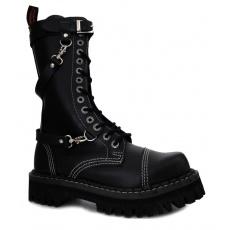 boty kožené KMM 14 dírkové černé s přezkama