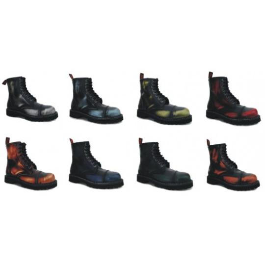 boty kožené KMM 8 dírkové stíraná barva