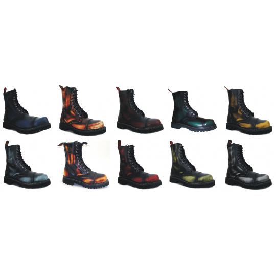 boty kožené KMM 10 dírkové stíraná barva