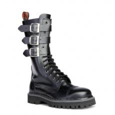 boty kožené KMM 14 dírkové černé se 3 přezkama