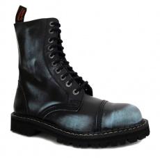 boty kožené KMM 10 dírkové černé/jeans