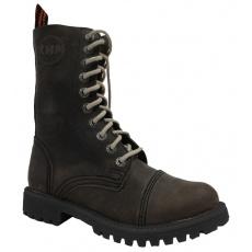 boty kožené KMM 10 dírkové crazy oliva Aston