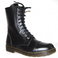 boty kožené KMM 10 dírkové černé Liquid