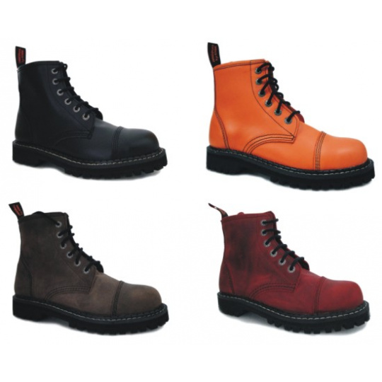 boty kožené KMM 6 dírkové jednobarevné