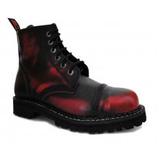 boty kožené KMM 6 dírkové černé/červená