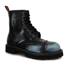 boty kožené KMM 8 dírkové černé/jeans