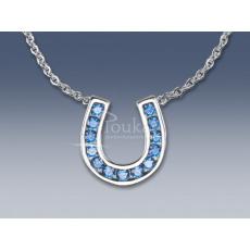náhrdelník podkova s modrými zirkony SWAROVSKI