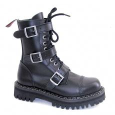 boty kožené KMM 10 dírkové černé se 3 přezkama