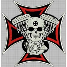 nášivka kříž + válce + lebka