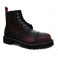 boty kožené KMM 6 dírkové černé/bordo