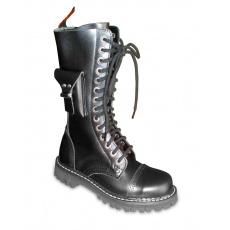 boty kožené KMM 14 dírkové černé s kapsičkou