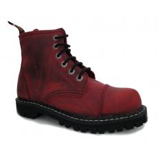 boty kožené KMM 6 dírkové crazy červené