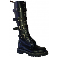 boty kožené KMM 20 dírkové černé se 4 přezkama