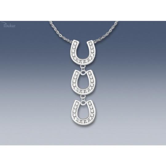 náhrdelník tři podkovy se zirkony SWAROVSKI