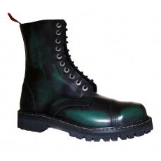 boty kožené KMM 10 dírkové černé/zelená