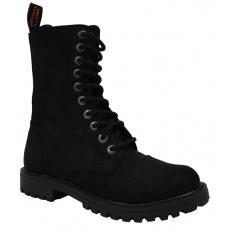 boty kožené KMM 10 dírkové crazy černé Aston