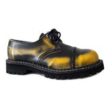 boty kožené KMM 3 dírkové černé/žlutá
