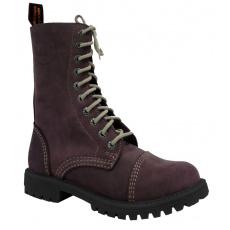 boty kožené KMM 10 dírkové crazy fialové Aston