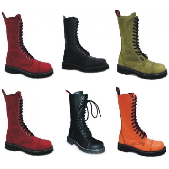 boty kožené KMM 14 dírkové jednobarevné