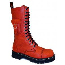 boty kožené KMM 14 dírkové cordoba červené s kapsičkou