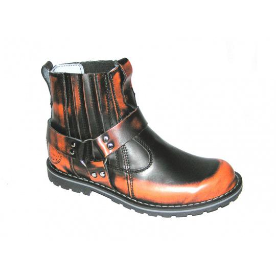 boty kožené KMM moto nízké dvě barvy