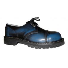 boty kožené KMM 3 dírkové černé/modrá