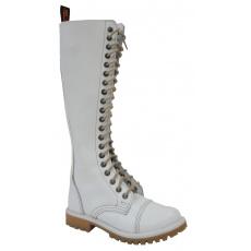 boty kožené KMM 20 dírkové bílé