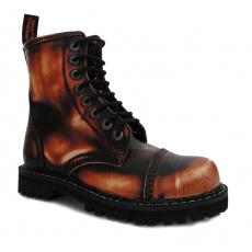 boty kožené KMM 8 dírkové černé/oranžová/bílá