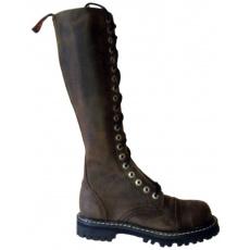 boty kožené KMM 20 dírkové crazy hnědé