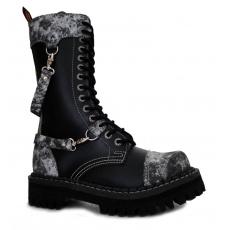 boty kožené KMM 14 dírkové černé/bílá/šedá s přezkama