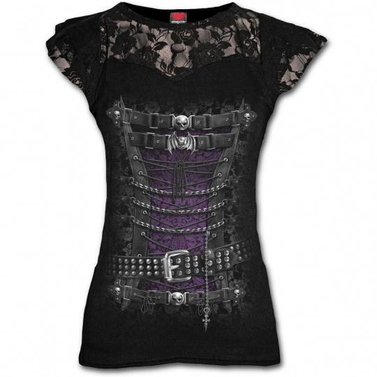 Dámské tričko s krajkami s motivem WAISTED CORSET